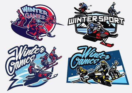 bundle set of winter games sport badges design