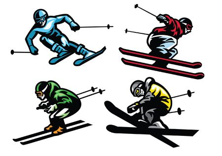 set of bundle vector of people playing ski snow Illustration