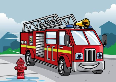 cartoon character of fire fighter truck