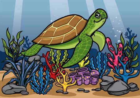 happy turtle swiming between the corals Ilustração