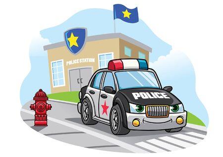 cartoon police car at the police station Illustration