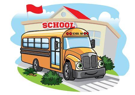 school bus in cartoon style Çizim