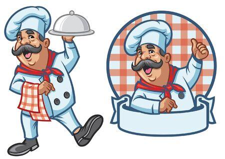 conjunto de mascota de personaje de chef Ilustración de vector
