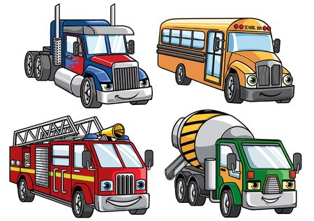 set of big truck and bus in cartoon style