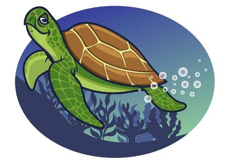 tortuga sonriente bajo el mar Ilustración de vector