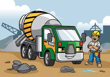 happy construction worker with cartoon concrete mixer truck
