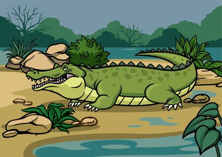 big crocodile cartoon in the nature