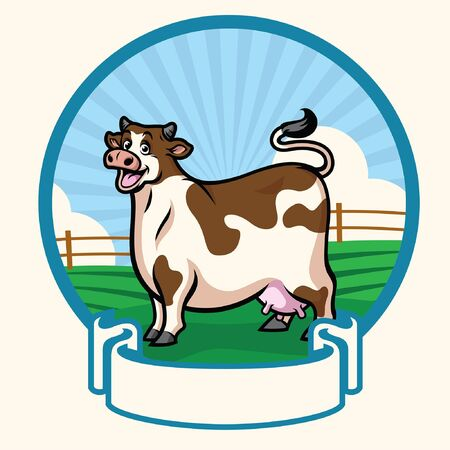 happy cow with blank banner for text