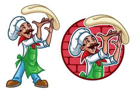 set of pizza chef mascot Çizim