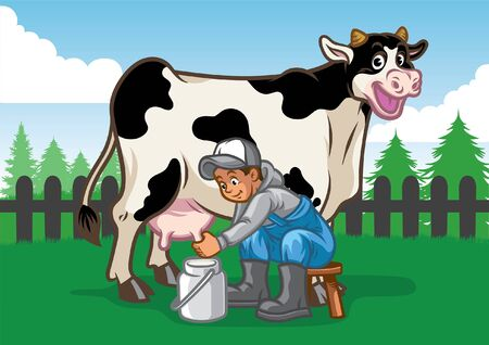 farmer milking the cow