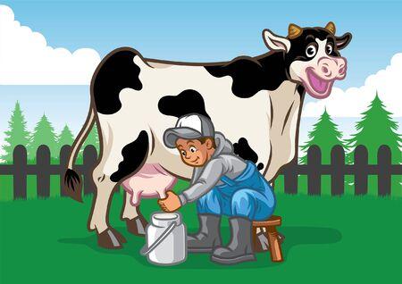 fermier traire la vache