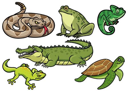 set bundle character of cartoon reptile