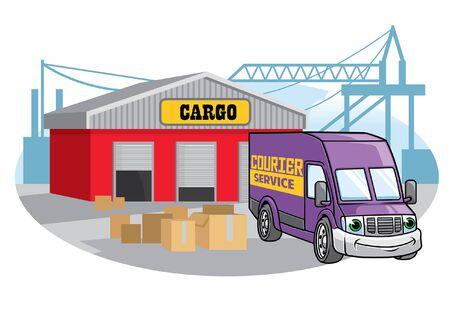 cartoon character of cargo van car at the port