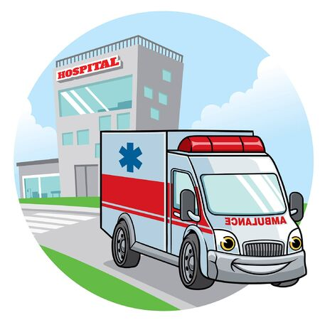 happy cartoon of ambulance car 向量圖像