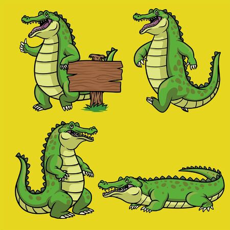 bundle set of cartoon crocodile in various pose