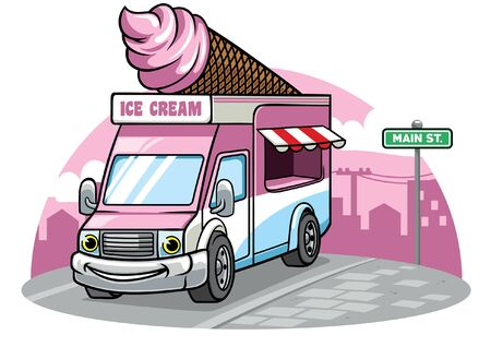 cartoon character of ice cream truck