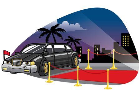 postać z kreskówki sedana limuzyny na czerwonym dywanie