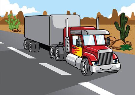 cartoon of big truck trailer driving in desert road