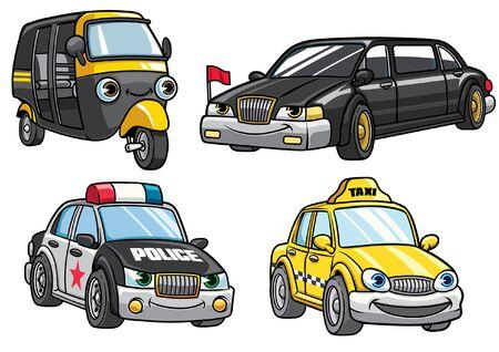 cartoon character set of small car sedan