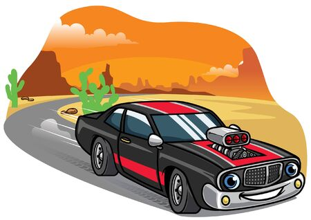 muscle car cartoon drive on the road  イラスト・ベクター素材