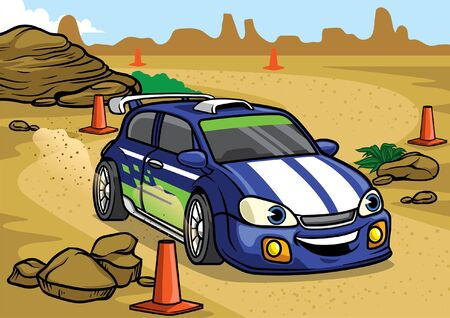 cartoon of rally car racing at the desert road 版權商用圖片 - 132304248