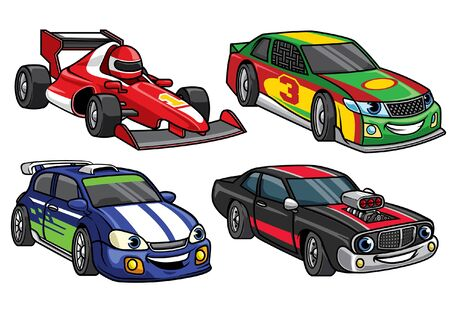 set of cartoon racing car character
