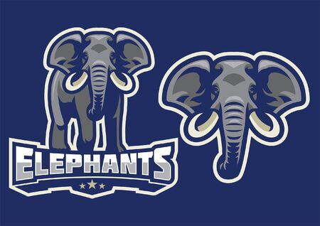set of elephant mascot in american sport style
