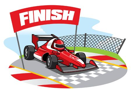 formula racing car passing the finish line