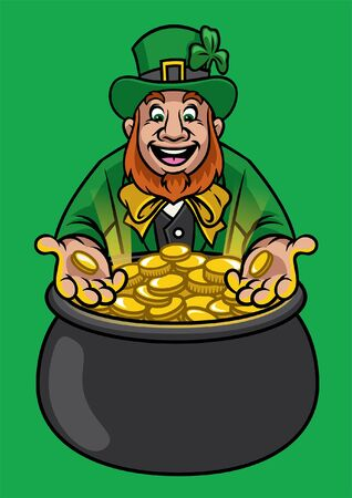 leprechaun showing pot full of gold coins Illustration