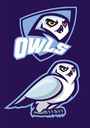 set of white owl mascot