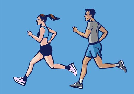 couple people work out running 向量圖像