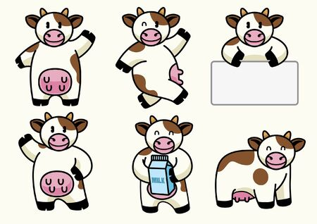 set bundle character of cartoon cow 向量圖像