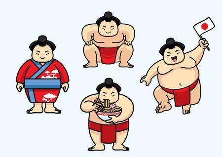 set of bundle character of sumo wrestler Vettoriali