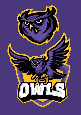 set of owl mascot in sporty style