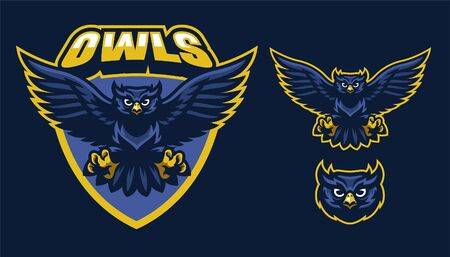 set of mascot of owl spreading the wings