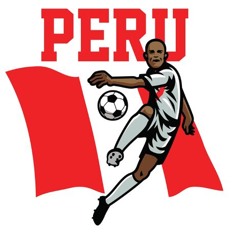 Peru soccer player with flag background Illustration