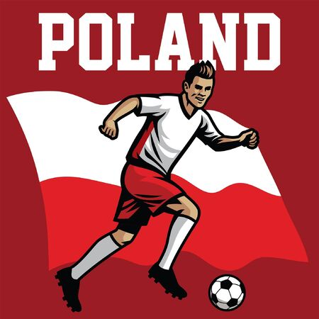 Poland soccer player with flag background