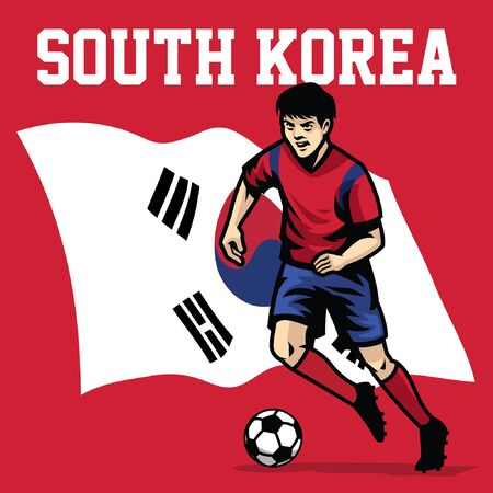 south korean soccer player with flag background 일러스트