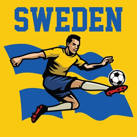 swedish soccer player with sweden flag background Stockfoto - 132478165