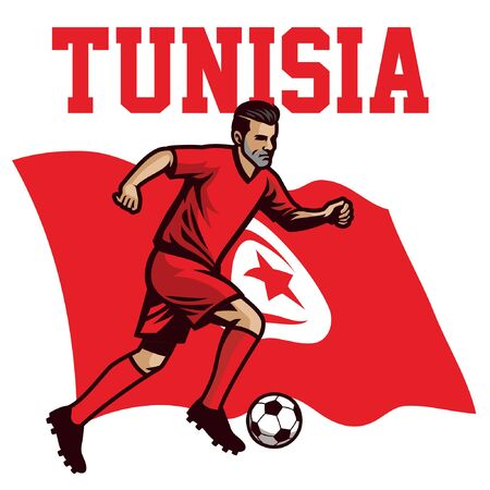 tunisian soccer player with tunisia flag background 일러스트