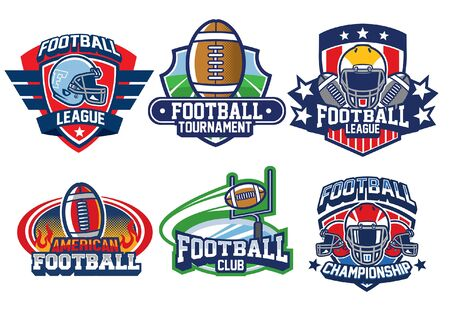 set bundle of american football badge design