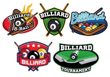set of billiard badge design