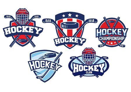 conjunto de paquete de placa de hockey sobre hielo Ilustración de vector