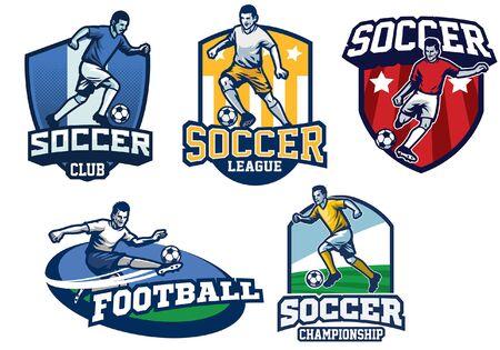 bundle of set soccer badges Ilustração