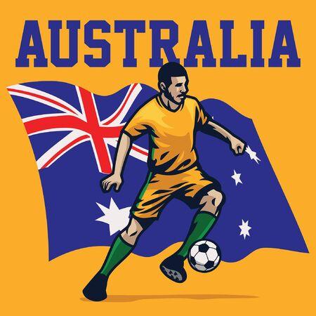 australian soccer player with australia flag background