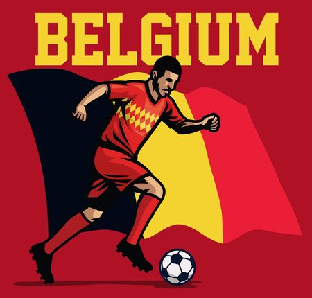 belgian soccer player with belgium flag background