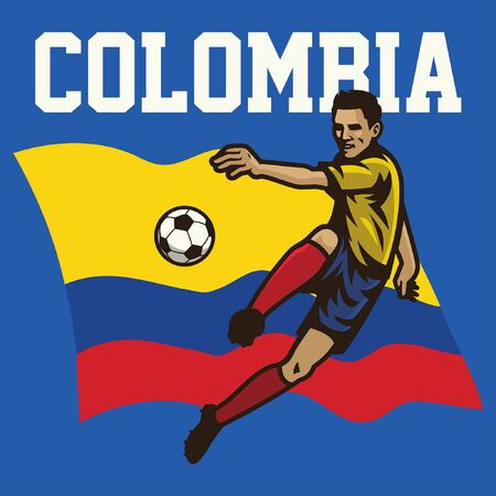 colombian soccer player with colombia flag background Foto de archivo - 132478309