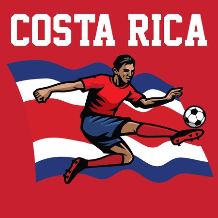 costa rican soccer player with costa rica flag background