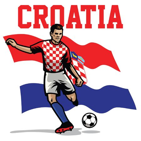 croatian soccer player with croatia flag background