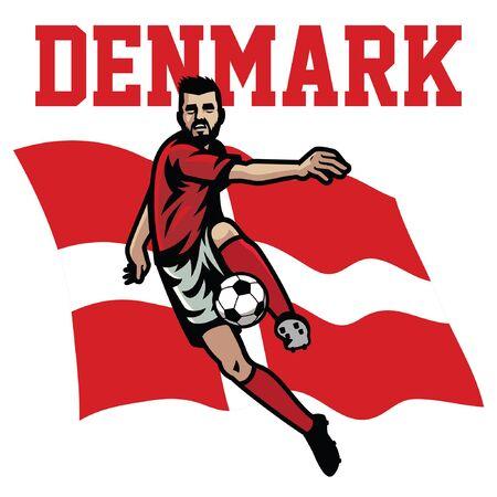 danish soccer player with denmark flag background